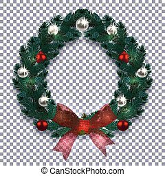 Christmas, New Year. Blue branch of spruce in the form of a Christmas wreath with shadow. Red bow, silver and red balls on the background checkered. illustration