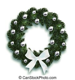 Christmas, New Year. Blue fir branches in the shape of a Christmas wreath with balls and a white bow. On a white background with a shadow. illustration