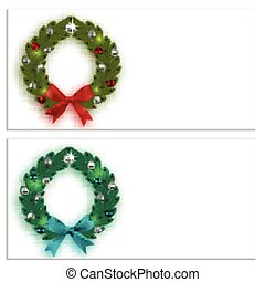 Christmas, New Year. Business cards, cards, invitations. Green and blue spruce branches in the form of two Christmas wreaths with balls and bows. On a white background. illustration