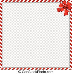 Christmas, new year cane square frame with red festive bow on transparent background.