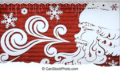 Christmas, New Year card, decoration - Santa Claus with the snowflakes, snowfall