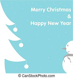 Christmas & New Year Card Snowman Tree on Blue Background