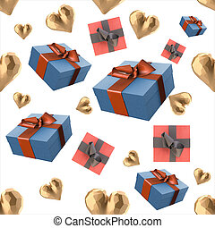 Christmas New Year colorful blue and red gift boxes and golden hearts with bows of ribbons flying on white background. seamless pattern. 3d illustration