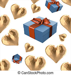 Christmas New Year colorful blue gift boxes and golden hearts with bows of ribbons flying on white background. seamless pattern. 3d illustration