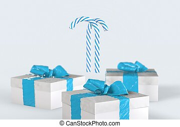 Christmas New Year colorful gift boxes with bows of ribbons and stripped candy cane on the white background. 3d illustration with space for your text