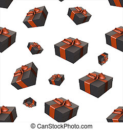 Christmas New Year colorful red and black gift boxes with bows of ribbons flying on white background. seamless pattern. 3d illustration