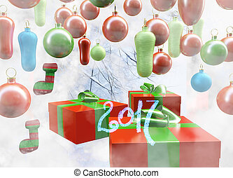 Christmas New Year colorful red and green gift boxes with bows of ribbons on background of colorful balls decorations . Greeting card with holiday tinsel. 3d illustration