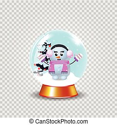 Christmas, new year crystal snow globe with cute snowman girl clip art