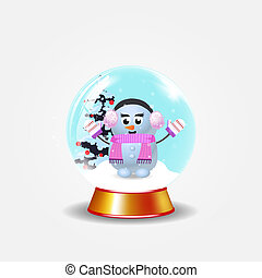 Christmas, new year crystal snow globe with cute snowman girl on white