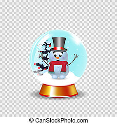 Christmas, new year crystal snow globe with cute snowman in top hat clip art
