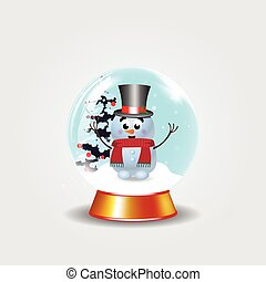Christmas, new year crystal snow globe with cute snowman in top hat on white