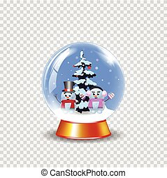 Christmas, new year crystal snow globe with cute snowmen on transparent background.