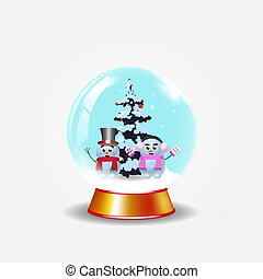 Christmas, new year crystal snow globe with cute snowmen on white background.