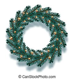 Christmas, New Year. Dark blue branches of spruce in the form of a Christmas wreath with gold stars and shadow. illustration