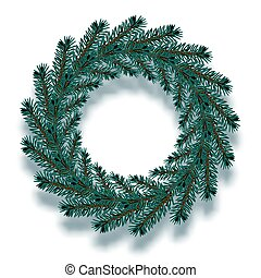Christmas, New Year. Dark blue spruce branches in the form of a Christmas wreath with shadow. illustration