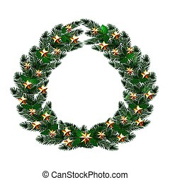 Christmas, New Year. Dark green branches of spruce in the form of a Christmas wreath with gold stars. illustration