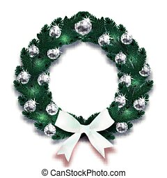 Christmas, New Year. Dark Green branches of spruce in the form of a Christmas wreath with silver balls and white bow. illustration