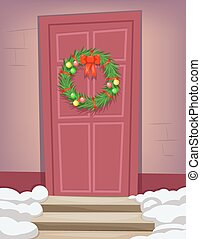 Christmas New Year Dinner Celebration Door Vintage Cartoon Vector Illustration