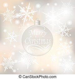 Christmas, New Year festive background for greeting cards. Silver ball with a wish of Merry Christmas illustrations