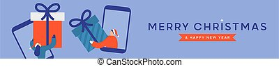 Merry Christmas Happy New Year web banner illustration of man and woman friends swapping gifts on mobile phone. Modern flat cartoon design for online friendship celebration event.