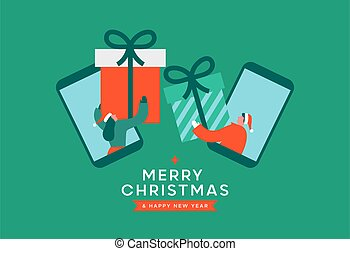 Merry Christmas Happy New Year greeting card illustration of man and woman friends swapping gifts on mobile phone. Modern flat cartoon design for online friendship celebration event.