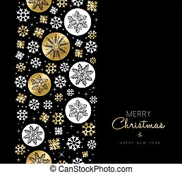 Christmas New Year gold snow pattern card design