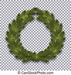 Christmas, New Year. Green branch of spruce in the form of a Christmas wreath with shadow. on the background transparent. illustration