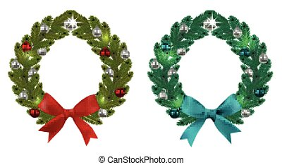 Christmas, New Year. Green branches of spruce in the form of two Christmas wreaths with balls and bows. On a white background. illustration