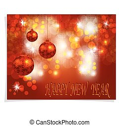 Christmas, New Year greeting. Three shiny red Christmas balls on a beautiful background. Inscription Happy new year. Christmas tree toy. illustration