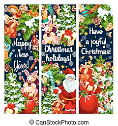 Christmas New Year holiday vector greeting banners