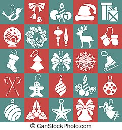 Christmas, New Year holidays icon big set. Flat style collection