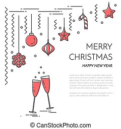 christmas new year horizontal banner with champagne decorations lline art