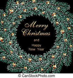 Christmas, New Year inscription. Dark green branches of spruce in the form of a Christmas wreath with golden stars and snow. illustration