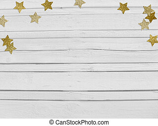 Christmas, New Year party mockup scene with golden star shape glittering confetti and empty space. White wooden background.