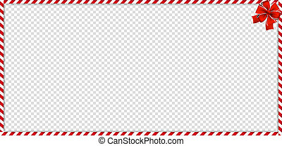 Christmas, new year rectangle candy cane frame withfestive bow on transparent background