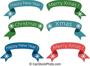 Christmas, New Year ribbons