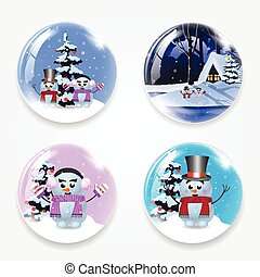 Christmas, new year round glass crystall ball globe set with cute cartoon snowman, winter house and snow isolated on white background.