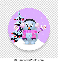 Christmas, new year round icon with cute snowman girl and fir tree