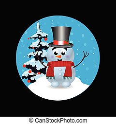 Christmas, new year round sign icon with cute snowman on black background.