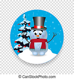 Christmas, new year round sign icon with cute snowman on transparent background.