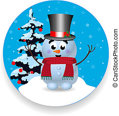 Christmas, new year round sign icon with cute snowman on white background.