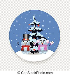 Christmas, new year round sign with cute cartoon snowman, snowgirl and xmas tree isolated
