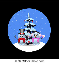 Christmas, new year round sign with cute cartoon snowman, snowgirl and xmas tree on black