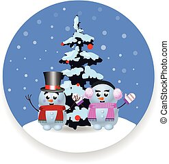 Christmas, new year round sign with cute cartoon snowman, snowgirl and xmas tree on white