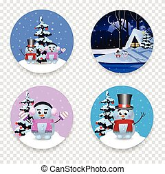 Christmas, new year round signs set with cute cartoon characters isolated