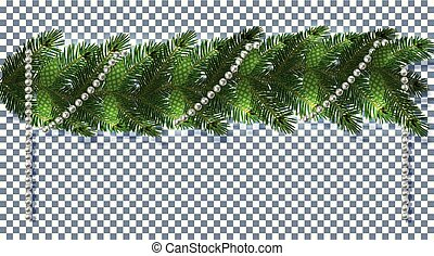 Christmas. New Year s decorations in the form of lambrequins with cones and beads. Green tree branches on a transparent background. illustration
