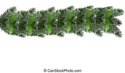 Christmas. New Year s decorations in the form of lambrequins with cones. Green tree branches on a white background. illustration