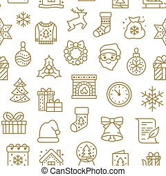 Christmas, new year seamless pattern, line background, winter holiday illustration. Vector icons of pine tree, gift, letter to santa, presents, snow. Celebration xmas party gold white ornament
