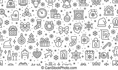 Christmas, new year seamless pattern, line background, winter holiday illustration. Vector icons of pine tree, gift, letter to santa, presents, snow. Celebration xmas party black white ornament
