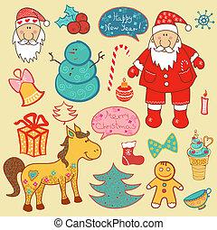 Christmas, new year set